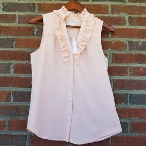 NY&C Small Sleeveless Peach Button up blouse vneck